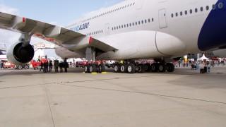A380 Sicht auf das Fahrwerk
